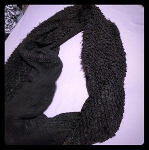Fuzzy Black Infinity Scarf